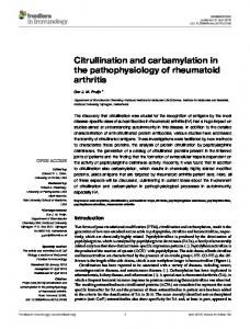 Citrullination and carbamylation in the ... - Semantic Scholar