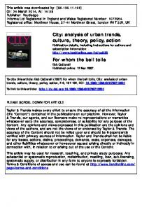 City: analysis of urban trends, culture, theory, policy ...