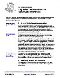 City Sales Tax Exemptions in Construction Contracts (pdf)