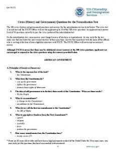 Civics (History and Government) Questions for the ...
