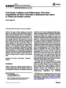Civil Society, Legitimacy and Political Space: Why ... - Springer Link