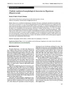 Cladistic analysis of morphological characters in ...
