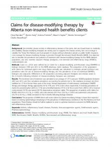 Claims for disease-modifying therapy by Alberta non-insured health ...