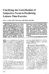 Clarifying the Contribution of Subjective Norm to Predicting Leisure