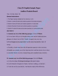 Class IX English Sample Paper Andhra Pradesh Board