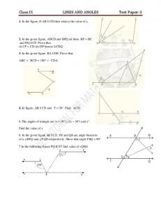 Class IX LINES AND ANGLES Test Paper-3