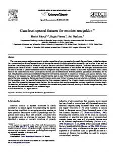 Class-level spectral features for emotion recognition - Semantic Scholar