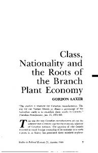 Class, Nationality and Plant Economy - Studies in Political Economy