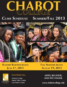 CLASS SCHEDULE SUMMER/FALL 2013 - Chabot College