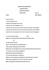 Class X - Social Science - Sample Question Paper ... - Regional Office