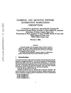 CLASSICAL AND QUANTUM SYSTEMS: ALTERNATIVE ...
