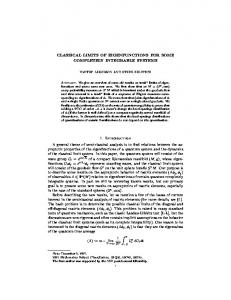 CLASSICAL LIMITS OF EIGENFUNCTIONS FOR