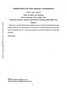 Classical States and Their Quantum Correspondence