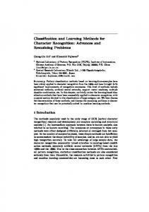 Classification and Learning Methods for Character ... - Semantic Scholar