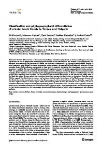 Classification and phytogeographical differentiation of oriental beech ...
