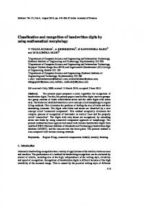 Classification and recognition of handwritten digits by ... - Springer Link