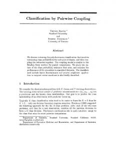 Classification by Pairwise Coupling