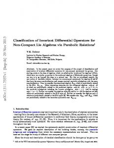 Classification of Invariant Differential Operators for Non-Compact Lie ...