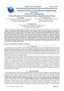 Classification of Uncertain Data using Decision Trees