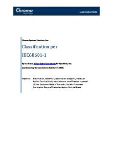 Classification per IEC60601-1 - Chroma Systems Solutions