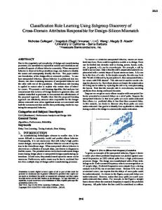 Classification Rule Learning Using Subgroup Discovery of ... - ECE UNM