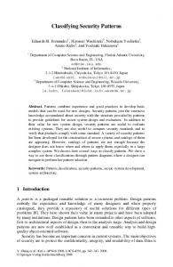 Classifying Security Patterns - Springer Link