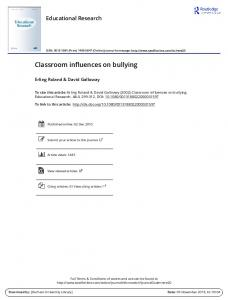 Classroom influences on bullying