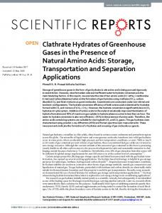Clathrate Hydrates of Greenhouse Gases in the