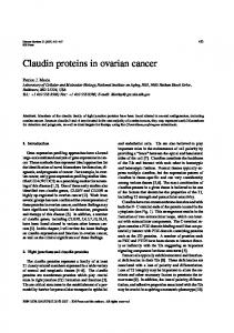 Claudin proteins in ovarian cancer - BioMedSearch