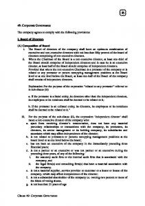 Clause 49- Corporate Governance 49. Corporate Governance The ...