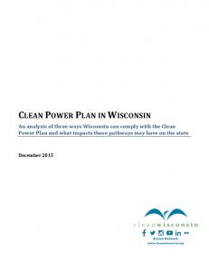 CLEAN POWER PLAN IN WISCONSIN