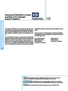 Cleaning and Disinfection in Europe according to the Endoscopic ...