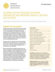 CLEARING THE AIR: REDUCING UPSTREAM GREENHOUSE GAS ...