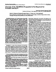 Cleavage of the ADAMTS13 Propeptide Is Not Required for Protease ...