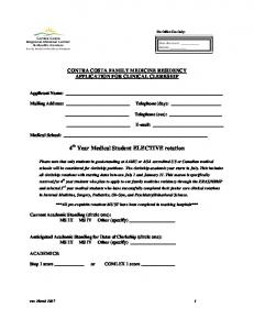 Clerkship Application - Contra Costa Health Services
