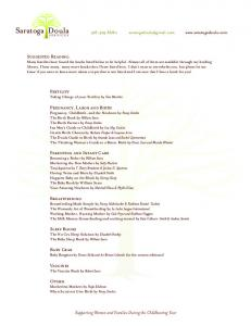 Click here to download my suggested reading list - Saratoga Doula