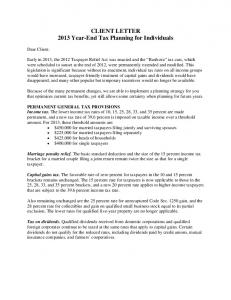 CLIENT LETTER 2013 Year-End Tax Planning for Individuals