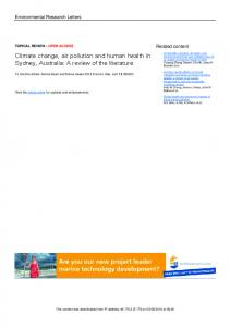 Climate change, air pollution and human health in ...