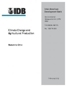 Climate Change and Agricultural Production - CLIMATE EXPERT