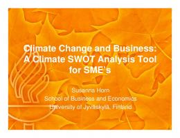 Climate Change and Business: A Climate SWOT Analysis Tool for ...