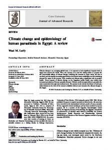 Climate change and epidemiology of human parasitosis in Egypt: A ...