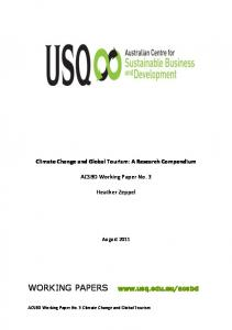 Climate Change and Global Tourism - USQ ePrints