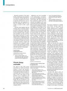 Climate change and health - The Lancet