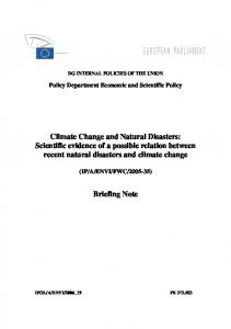 Climate Change and Natural Disasters: Scientific ... - Ecologic Institute