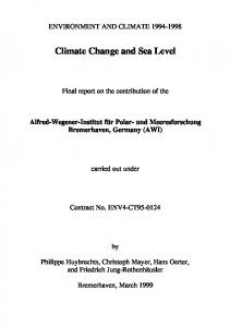 Climate Change and Sea Level - ePIC - AWI