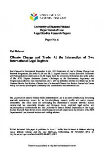 Climate Change and Trade: At the Intersection of Two ... - SSRN papers