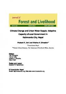 Climate Change and Urban Water Supply - ForestAction Nepal