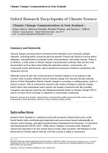 Climate Change Communication in New Zealand