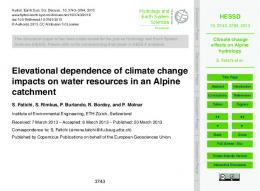 Climate change effects on Alpine hydrology - hessd