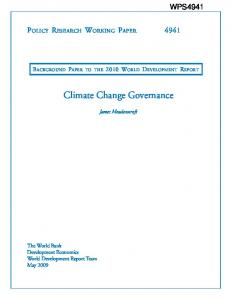 Climate Change Governance - CiteSeerX